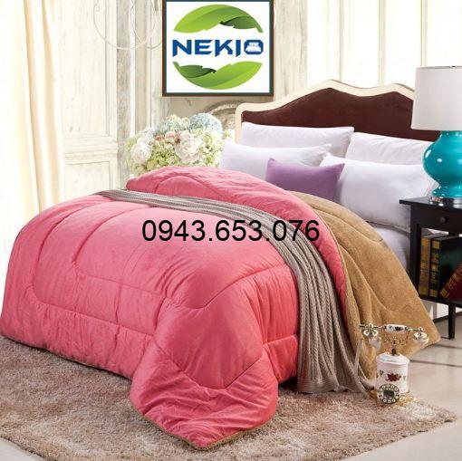Chăn lông cừu Nekio màu hồng