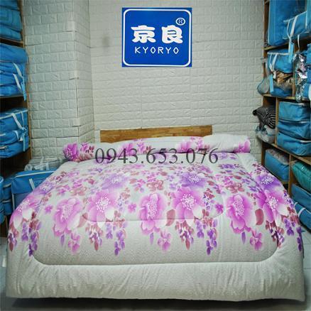 Chăn Lông Thỏ Queen Luxury Kyoryo Hoa Lan Tím